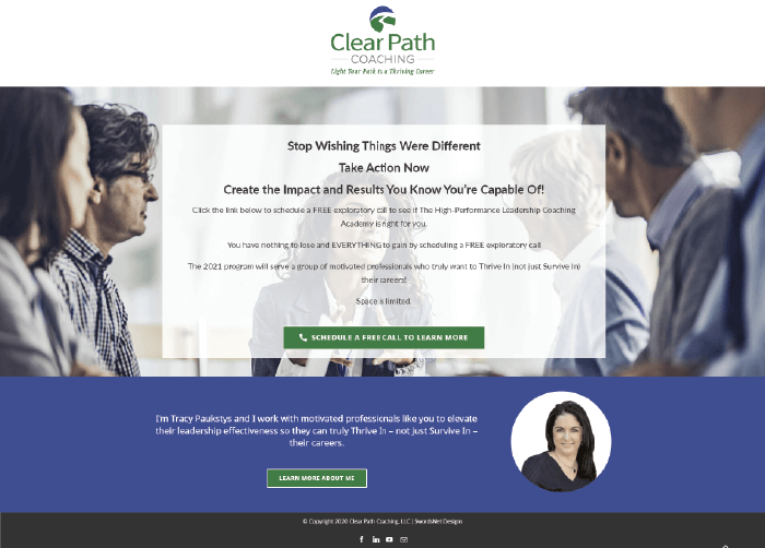 Clear Path Coaching Landing Page