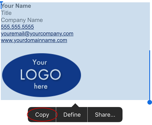 Select and copy your html email signature
